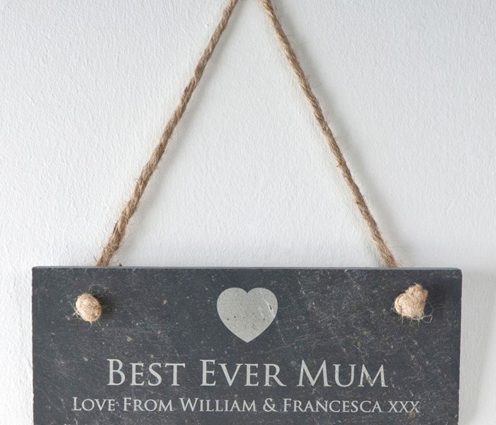 Personalised 'Best Ever Mum' Hanging Slate Sign