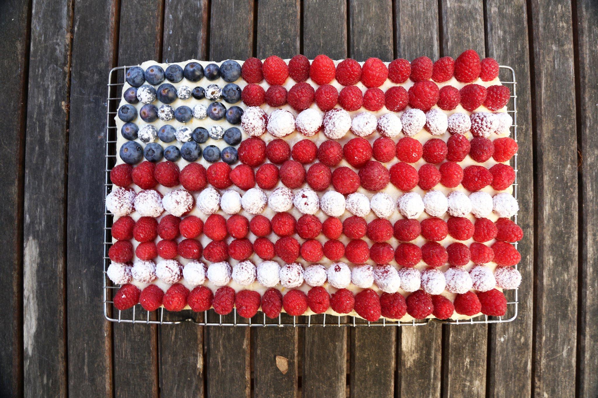 American Flag Sponge Cake